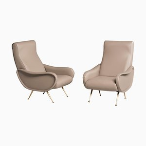 Leather Reupholstered Lady Armchair from Zanuso, Set of 2