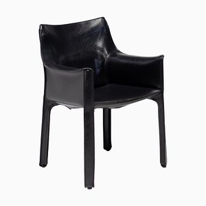 Black Leather CAB Armchair by Mario Bellini for Cassina, 1970s