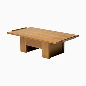 Italian Architectural Cherry Coffee Table with Sliding Top