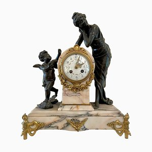 19th Century French Bronze Ormolu and Marble 8 Day Striking Mantel Clock