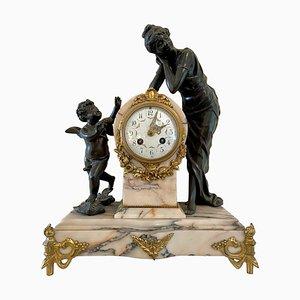 Horloge de Manteau 8 Jours Frappée en Bronze Doré et Marbre, France