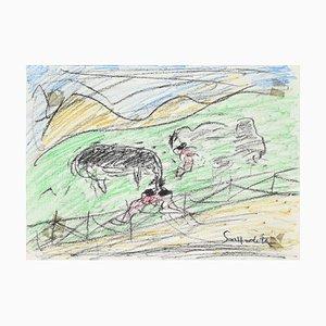 Nazareno Gattamelata - Greening Landscape - Original Oil Pastels - 1970s