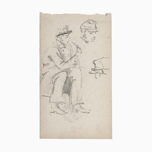 Unknown - Soldier - Original Pencil on Paper - 19th-Century