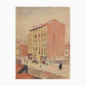 Street In the City - Encre et Aquarelle Originales - Fin du 20ème Siècle