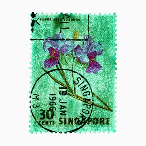 Singapore Stamp Collection, 30c Singapore Orchid Green - Floral Color Photo, 2018