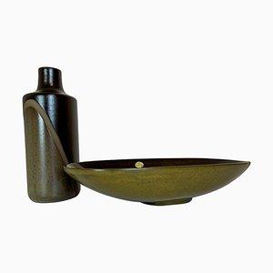 Diagonale Mid-Century Vase und Schale von Upsala Ekeby, Schweden, 1950er, 2er Set