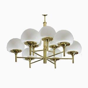 Jakobsson Style Brass Sputnik Chandelier with 9 Opaline Glass Orbs, 1960s