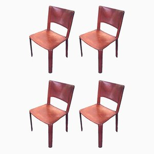 Italian Saddle Leather Dining Chairs, 1970s, Set of 4