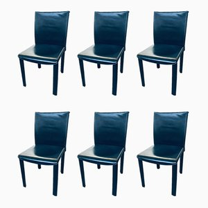 Italian Black Leather Dining Chairs from Arper, 1980s, Set of 6