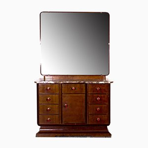 Art Deco Cabinet with Vanity Mirror, 1930s