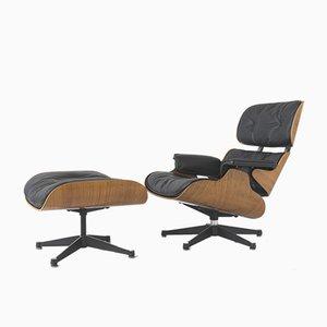 Palisander Sessel & Fußhocker von Charles & Ray Eames für Contura, 1950er, 2er Set
