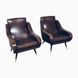 Mid-Century Modern Faux Leather Armchairs, 1950s, Set of 2