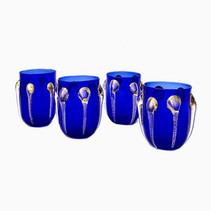 Vintage Cobalt Blue Murano Glass Water Glasses in the Style of Vittorio Zecchin from Vetrarti, Set of 4
