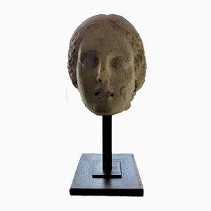 Testa femminile in pietra calcarea, Spagna, I secolo
