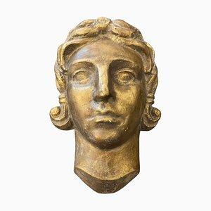 Art Deco Gilt Plaster Italian Sculpture of a Head, 1930s