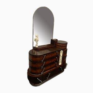 Ovaler Palisander & Geschnitzter Wurzelholz Schubladenschrank & Spiegel von Ducrot, 1920er, 2er Set