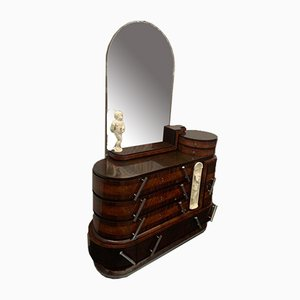 Rosewood & Carved Burl Oval Chest of Drawers & Mirror by Ducrot, 1920s, Set of 2