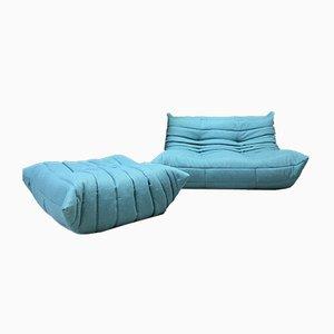 Blaues Vintage Togo 2-Sitzer Sofa & Fußhocker von Ligne Roset, 2er Set