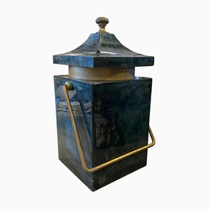 Large Mid-Century Modern Goatskin & Brass Ice Bucket by Aldo Tura for Atelier Tura, 1960s