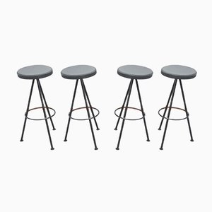 Leather & Metal Bar Stools, 1960s Set of 4