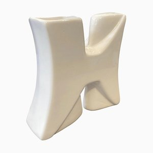 White Ceramic Vase by Roberto Rigon, 1980s