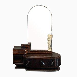 Coiffeuse Ovale en Palissandre et en Noyer avec Miroir avec Sculpture de Chérubin par Ducrot, 1920s, Set de 2