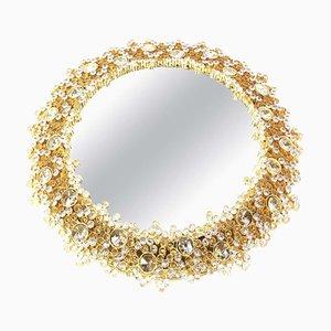 Specchio retroilluminato in ottone dorato e cristallo di Palwa, Germania, anni '70