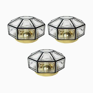 Deutsche Deckenlampe aus Eisen & Klarglas von Limburg, 1960er