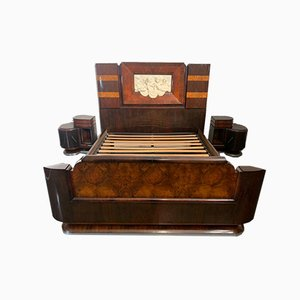 Rosewood and Walnut Bed & Bedside Tables with Cherub Carving by Ducrot, 1929, Set of 3