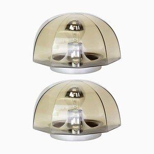 Deutsche Deckenlampen aus Rauchglas von Hillebrand Lighting, 1960er, 2er Set