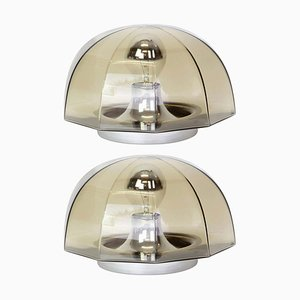 German Smoked Glass Ceiling Lamps from Hillebrand Lighting, 1960s, Set of 2