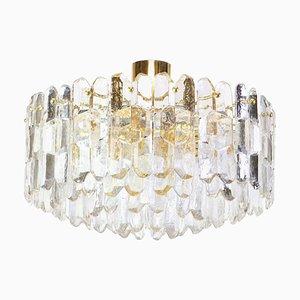 Austrian Gilt Brass & Crystal Glass Palazzo Ceiling Lamp from Kalmar, 1970s