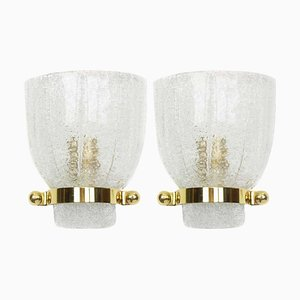 Mid-Century German Murano Glass Wall Sconces from Hillebrand Lighting, 1960s, Set of 2