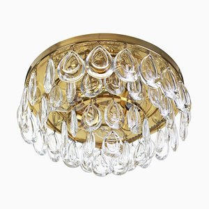 German Brass & Crystal Glass Ceiling Lamp from Palwa, 1970s
