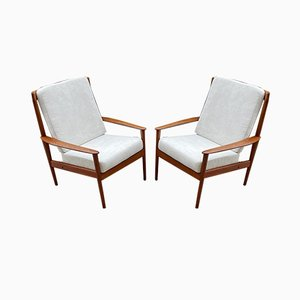 Mid-Century Scandinavian Teak PJ56 High Back Lounge Chairs by Grete Jalk for Poul Jeppesens Møbelfabrik, 1960s, Set of 2