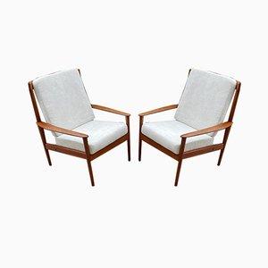Mid-Century Scandinavian Teak PJ56 High Back Lounge Chairs by Grete Jalk for Poul Jeppesens Møbelfabrik, 1960s, Set of 2