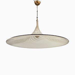 Large Black & White Murano Glass Swirl Pendant Lamp, 1970s