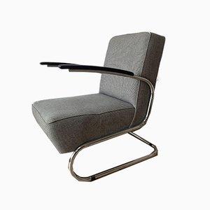 Vintage Chrome & Tubular Steel S 411 Cantilever Armchair from Thonet