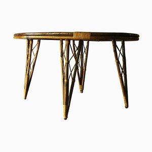 Mesa de jardín o patio Mid-Century de bambú, años 60