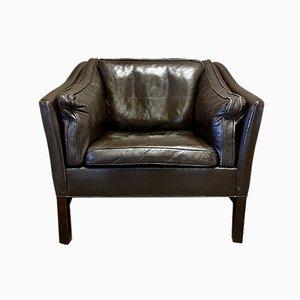 Scandinavian Leather Lounge Chair, 1970s