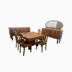 Art Deco Esszimmer Set aus Palisander & Marmor, 1930er, 10er Set