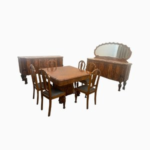 Art Deco Rosewood & Marble Dining Room Set, 1930s, Set of 10
