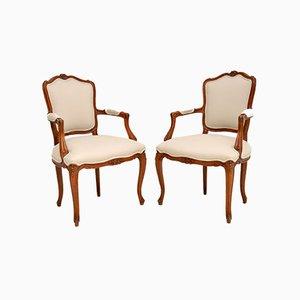 Französische Vintage Nussholz Beistellstühle, 2er Set