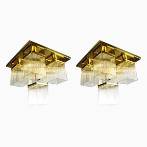 Sconces with Glass Rods, 1980s, Set of 2
