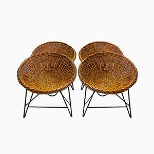 East German Wicker Basket Chairs, 1970s, Set of 4