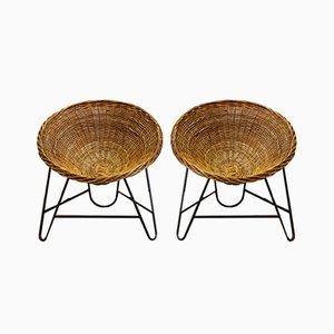East German Wicker Basket Chairs, 1970s, Set of 2