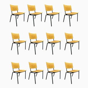 Industrial Dining Chairs, 1960s, Set of 12