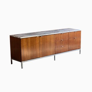 American Marble & Rosewood Credenza by Florence Knoll Bassett for Knoll Inc. / Knoll International, 1950s