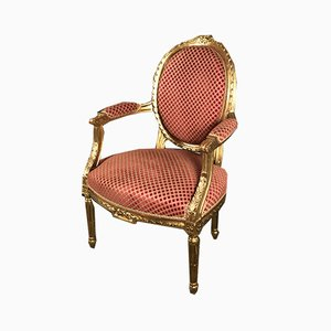 Louis XVI Style Gilded Medallion Lounge Chair with Velvet Covering, 1960s
