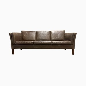 Scandinavian Brown Leather Sofa, 1970s